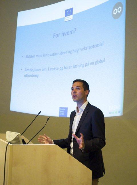 EU-RÅDGIVER: Eirik Velle Wegner Lønning fra Innovasjon Norge fortalte om verdens største forskningsfond, EUs Horizon 2020. FOTO: EVA M. STERNHOFF