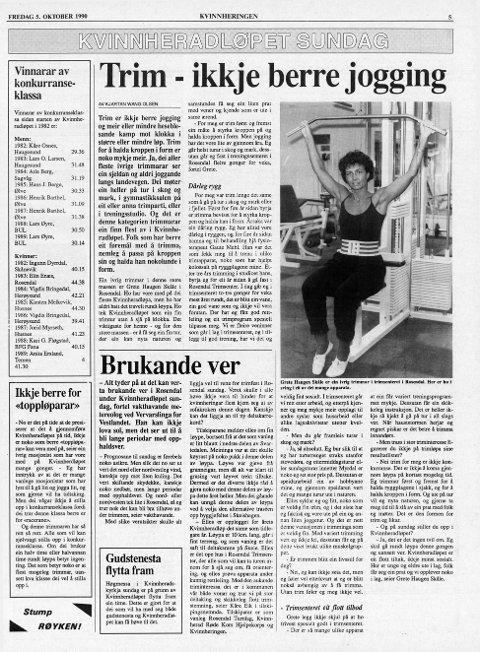Slik tok Grete Haugen seg ut i trimsenteret i Rosendal for 27 år sidan. I dag held ho kroppen i form med å gå i terrenget når ho klarar det.