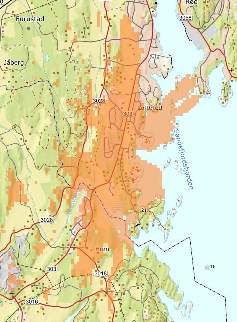 DEKNING: Det oransje området viser dekningen fra basestasjonen på Enga som ble aktivert denne uken. KART FRA TELIA