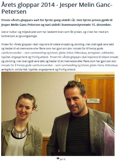 GLOPPAR: I 2014 ble Jesper Melin Ganc-Petersen tildelt prisen Årets Glpppar. På bildet står han med Kristin Sandal som overrakte prisen.