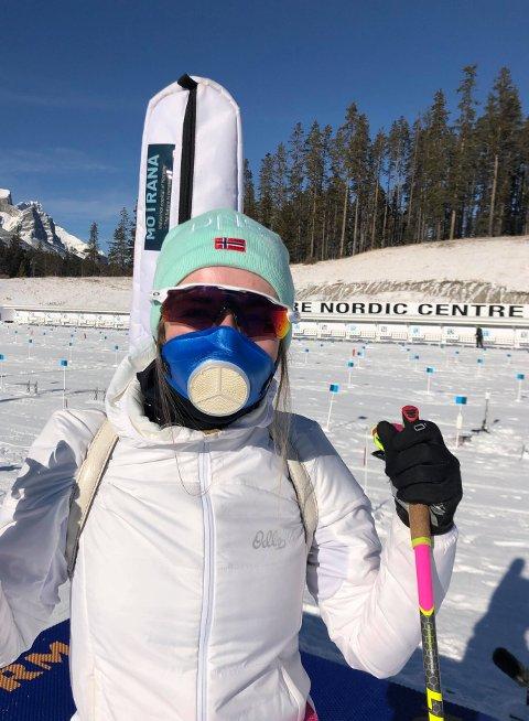 TØFFE TAK: Emilie har såvidt fått trent utendørs siden hun kom til Canmore i Canada. I går var unntaket, men da måtte løperne bruke maske.