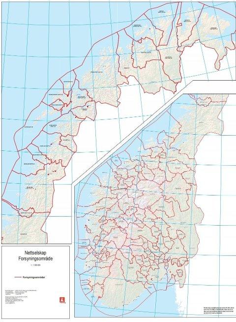 NETTSELSKAP: Som kartet viser har vi eit «hav» av nettselskap i Noreg – 124 til saman. Dei fleste av desse er små. Dette har ei historisk forklaring.