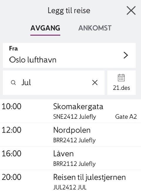 JULEFLY: Dette er dagens julerelaterte avganger fra flyplassen Gardermoen, ifølge OSL.