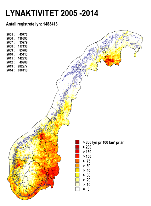 Kartet viser lyn per 100 kvadratkilometer fra 2005 til og med 2014. Merk for eksempel at det er høy lyntetthet på Finnmarksvidda. Kilde: SINTEF.