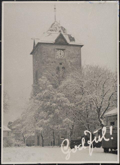 Julekort med motiv Vår Frues kirke, 1931.