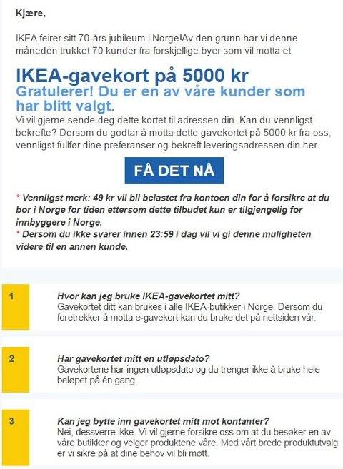 Fått denne e-posten? Meldingen fra IKEA er klar: Slett den!