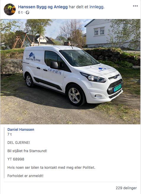Denne meldingen ble lagt ut på Facebook fredag formiddag. Vel seks timer senere ble bilen funnet – i Bjerkvik