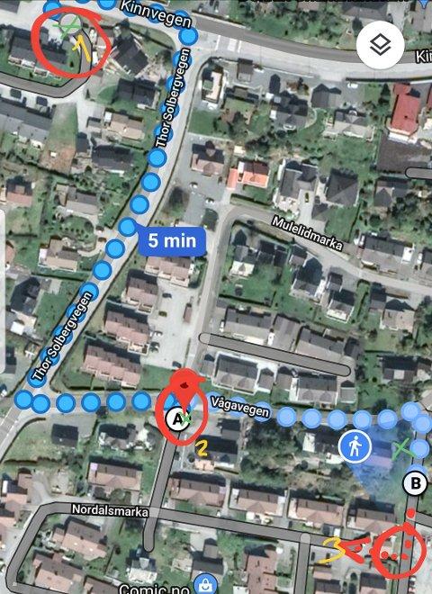 Dei blå prikkane viser kvar tjuvane har gått.