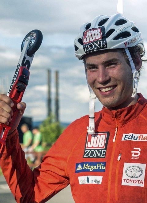 Smilte: Even Sæteren Hippe etter VM-bronse på rulleski.