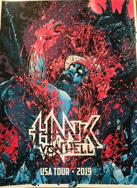 Kunstplakaten som Hans-Erik Dyvik Husby la ut på auksjon landet på 5.000 kroner. Bidraget går til minnefondet Erkeenglene.