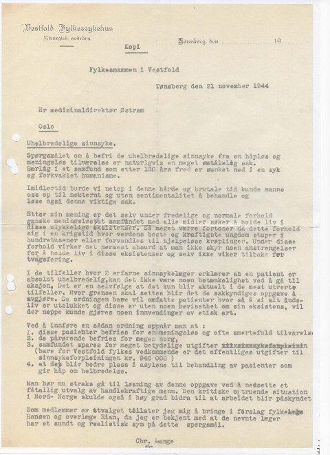 Slik så brevet, signert Christian Lange ut. Her oppfordrer legen til avliving av alle «uhelbredelig sinnssyke».