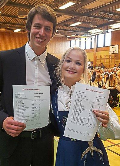 GREÅKER: Axel Emil Thorenfeldt og Ellen Marie Karlsen, begge fra Hvaler, var de elevene med best karakterer i Sarpsborg. Foto: Privat