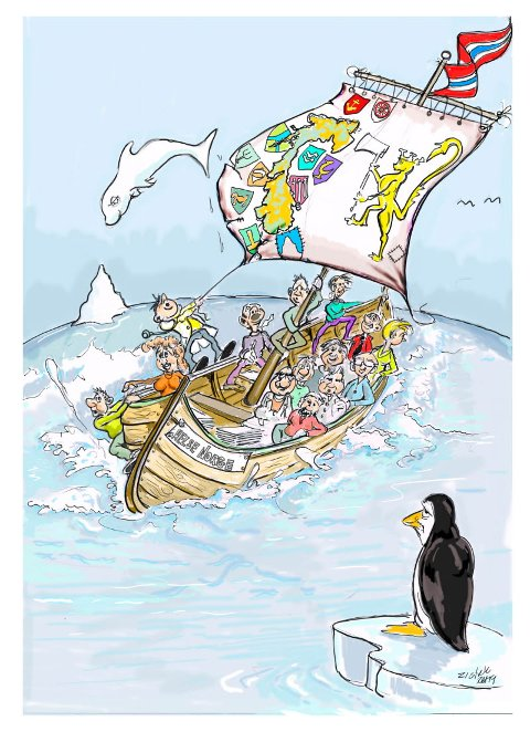 UTE AV KURS: Både Evju og tegner Reidar Hanssen ser dagens Helse-Norge på denne måten – med skjevt fordelte ressurser på hver side av farkosten, der fastlegen forsøker å håndtere seilet og fremdriften mens pasienten – i sentrum – klamrer seg til masta.