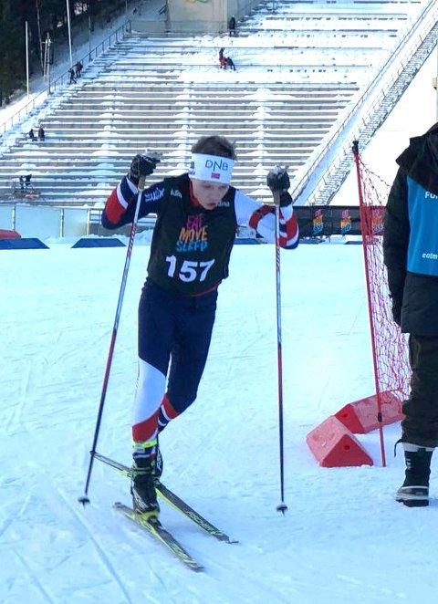 Godt renn: Tobias Gigstad-Bergene fra Skrautvål idrettslag luktet på pallen under Kvalfossprinten i skiskyting forrige helg.