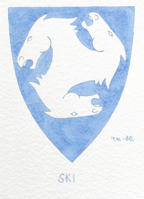 MYE Å SE: Originaltegningen av blant annet Skis kommunevåpen er noe av det du kan se på Riksarkivets nettside.