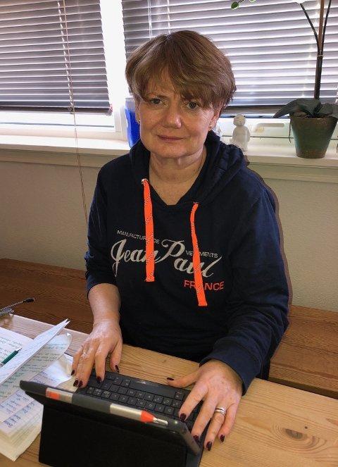 JOBBER HJEMMEFRA: I likhet med mange andre ansatte i kommunen, jobber også ordfører Ragnhild Bergheim i størst mulig grad hjemmefra i disse dager.