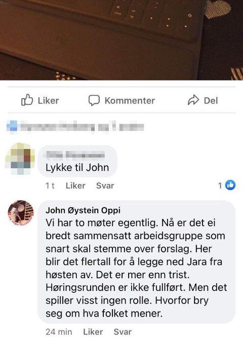Her er meldingen som John Oppi la ut fra arbeidsmøtet der skolestruktur ble diskutert. Denne førte til en varslingssak mot Oppi.