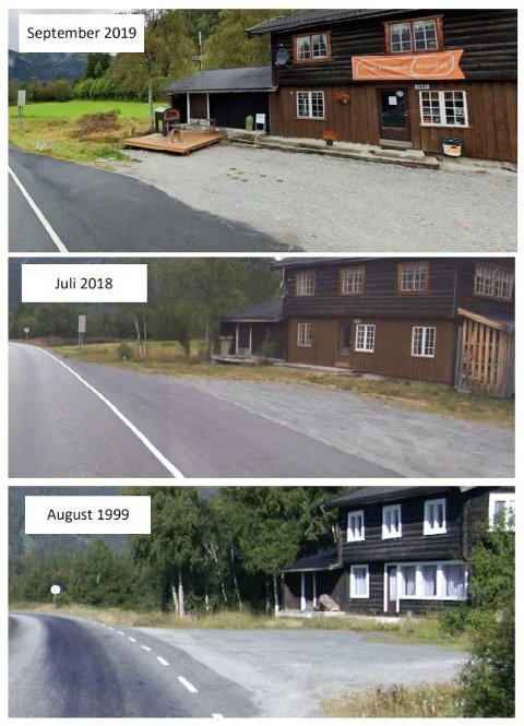 FRA 1999: Statens vegvesen mener treplattingen som er satt opp er ny. Eieren mener stedet hadde platting allerede i 1945.