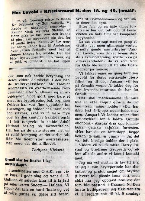 Fra IF Ørnulfs medlemsblad mars 1947.