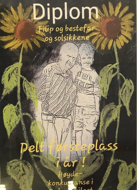 Kunst: Hanne Gunnestad har laget denne flotte diplomen. Hun har gitt den i gave til «Solsikkens venner» Filip og bestfar.
