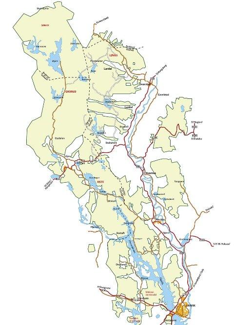 Enorm eiendom: Treschows områder (lysegrønn) ligger i seks kommuner. Fritzøe Skoger har en spesielt sterk stilling i Siljan. Illustrasjon: ØP