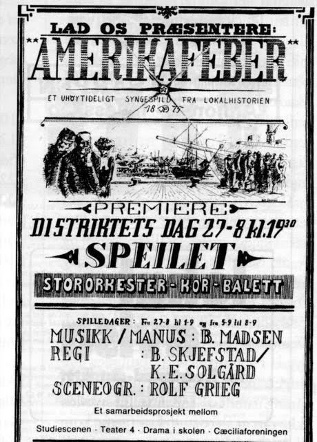 Plakaten til Birger Madsens forestilling om utvandringen fra Fredrikstad.