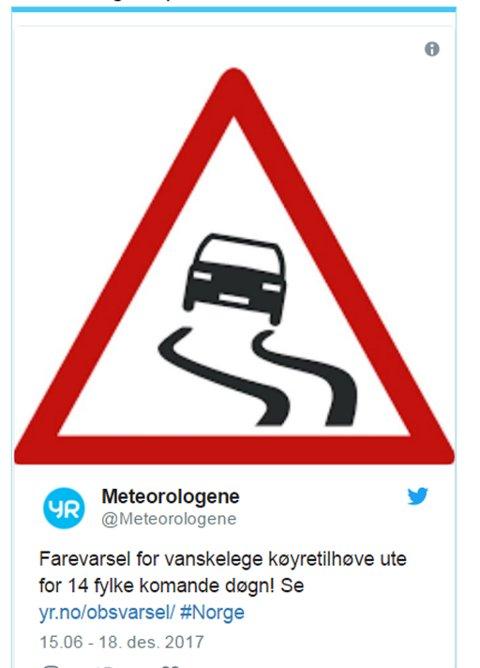 Det er såpass sjelden vare med obs-varsel for 14 fylker at meteorologene har sendt ut en egen melding om det på twitter.