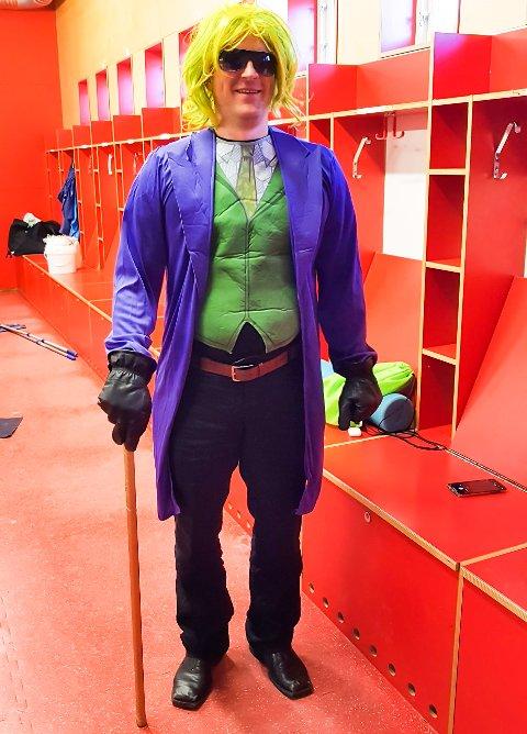 """EKSENTRISK ANTREKK: Tønsbergs Vikings-trener Andreas Toft utkledd som """"The Joker"""" fra Batman-universet. Stuntet er et ledd i klubbens kronerulling."""