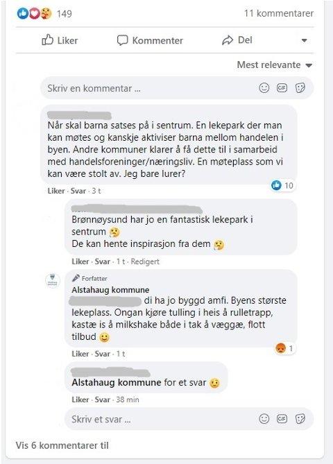 GLIPP: I over en time lå denne kommentaren fra Alstahaug kommune på kommunens egne facebookprofil.