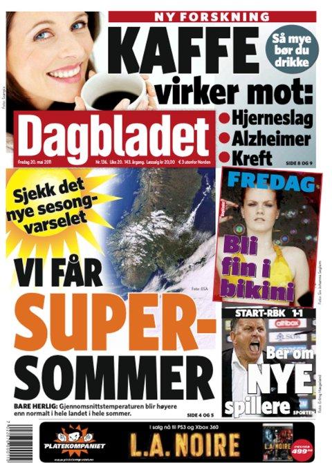 SPÅDDE SUPER-SOMMER: Dagbladet gikk langt i å slå fast at sommerværet skulle bli «supert» i 2011.
