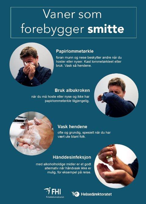 SLIK FOREBYGGER DU SMITTE: Dette er vaner som forebygger smitte.