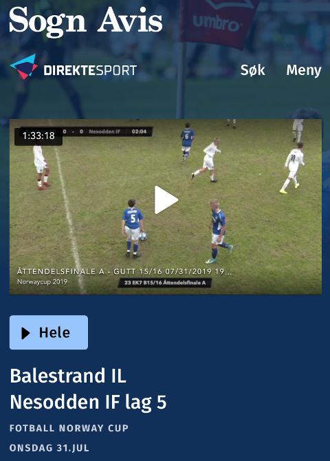 SOMMARMINNER: Balestrand IL var eit av laga som var i aksjon med direktesendt kamp under Norway Cup 2019.