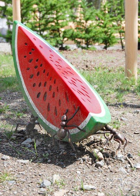 """MORSOM SKULPTUR: Flittige maur samarbeider om å bære bort denne vannmelonen. Er del av arbeidet """"Løsrivelse"""", signert kunstnerduoen Aurora Sander som står ved det nye Veterinærbygget."""