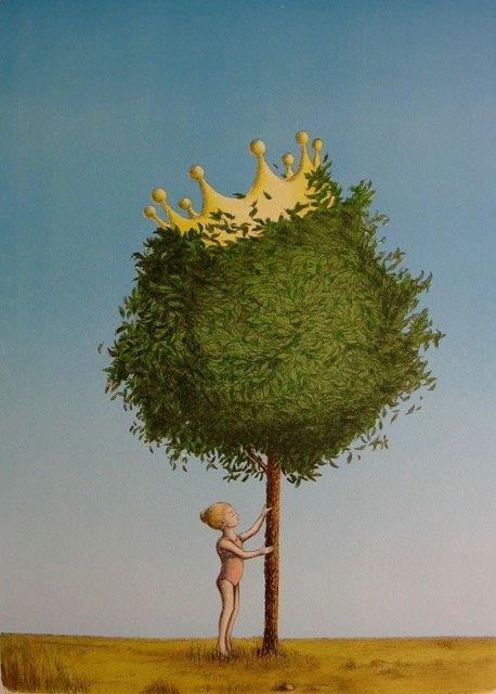 """God balanse: - Sjelden ser vi en kunstner som evner å kombinere humor, alvor og budskap på en måte som Tom Erik Andersen, sier gallerist Elenor Martinsen. Her er bildet """"The tree crown princess""""."""
