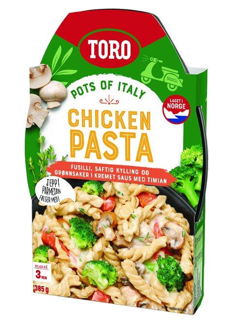 Oslo 2019822.  Orkla Foods Norge kaller tilbake TORO Chicken Pasta merket «best før 10.09.19». Produktet kan inneholde TORO Creamy Carbonara, som har egg som ingrediens og kan fremkalle reaksjoner hos personer med eggallergi. Foto: Toro / NTB scanpix