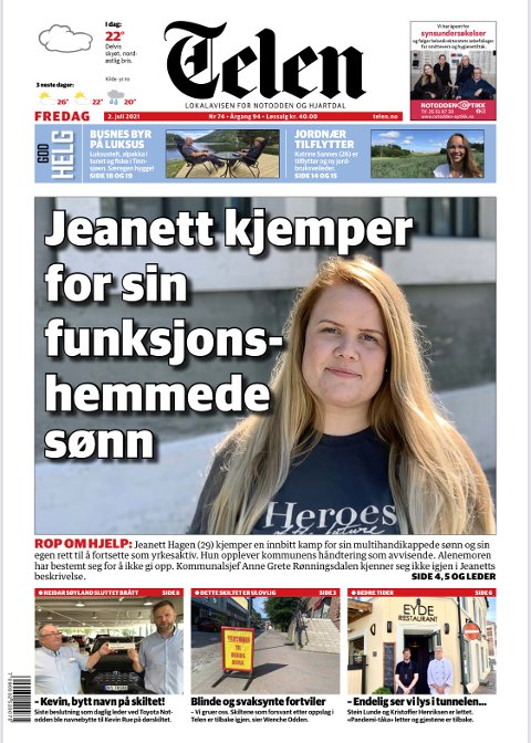 TELEN: Forsiden av Telen, fredag 2. juli.