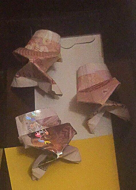 FESTLIGE HUNDRELAPPER: En kreativ bestefar brettet frosker av disse hundrelappene før mottakeren fikk dem. Har du «konvoluttpenger» liggende i skapet er tida inne for å levere dem i banken dersom sedlene er av den gamle typen.