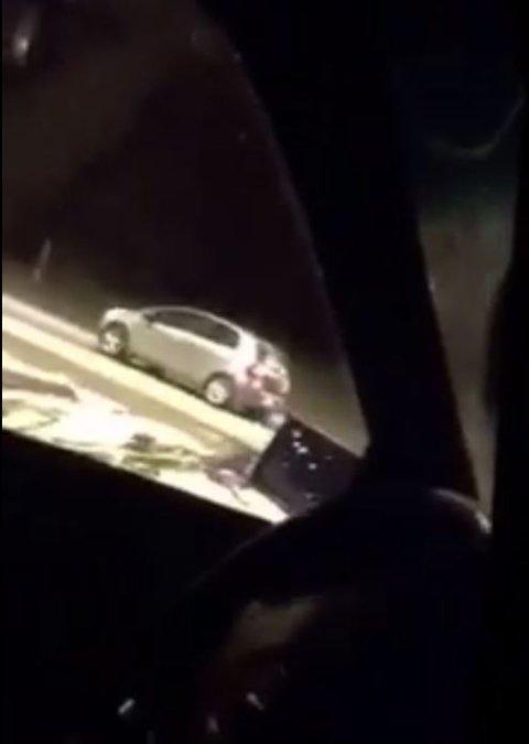 DELTE PÅ SNAPCHAT: Mennene i de tre bilene som fulgte etter et tilfeldig ektepar delte helte «jakten» på Snapchat.
