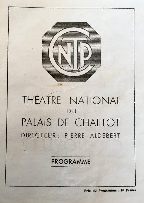 Forsiden av première-programmet fra Paris 1947.