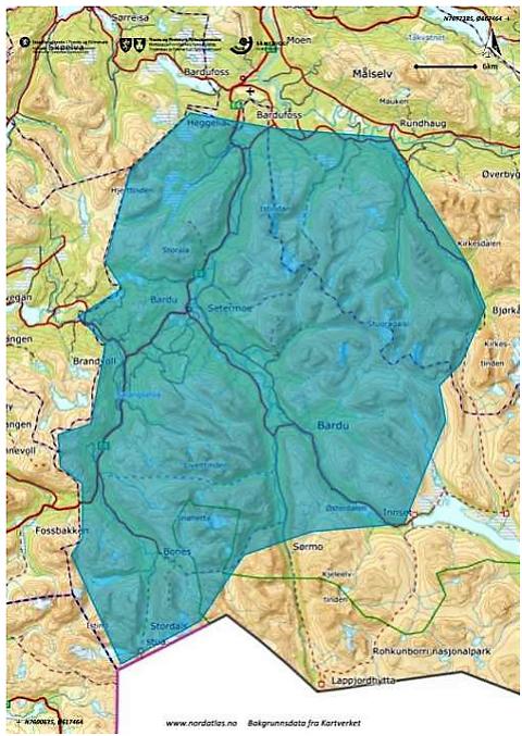 Tøft terreng: I området som er skravert med blått kan det jaktes på bamsen. Fellingsleder Tore Helberg beskriver det som vanskelig med mye tett vegetasjon.