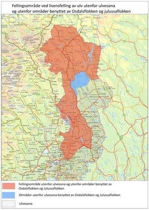 FELLINGSOMRÅDET: Det rødbrune området på kartet er området for jakt utenfor etablerte revir. Det blå er områder som Julussaflokken og Osdalsflokkken bruker utenfor ulvesonen.  Ulvesonen er det svakt skraverte området.
