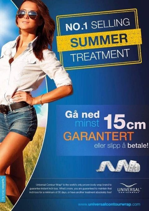 GARANTI: Minst 15 centimeter mindre i løpet av to timer, lover reklamen. Forbrukertilsynet etterlyser dokumentasjon.