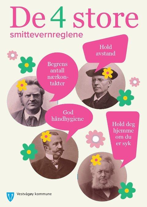 """""""Vi har sommerifisert plakaten av #de4store som kan skrives ut og plasseres på dertil synlig sted hos dere"""", skriver Vestvågøy kommune på sine nettsider."""