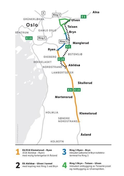 FIRE ETAPPER: Kartet viser etappeinndeling for E6 Manglerudprosjektet.