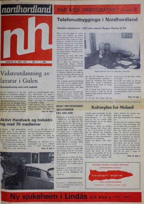 FØRSTE UTGÅVE: Bernt Tungodden etablerte Avisa Nordhordland i november 1974 saman med Sigmund Maraas og Terje Vetås. Slik såg den første utgåva av Avisa Nordhordland ut 20. november 1974. FOTO: Morten Sæle