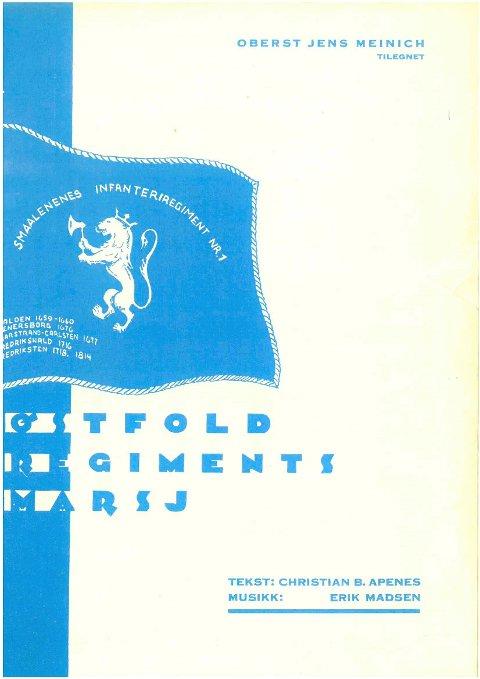 Forsiden på  noteheftet til «Østfold regiments marsj» fra 1933.