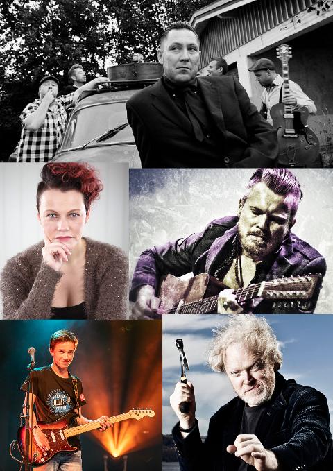 ROCKA JUL: Amund Maarud, Viggo Sandvik, Stina Stenerud (fra Fetsund), Tobias Ruud og blåserrekke og kor er gjester når Fat Fred & The Possum Hunters ber inn til julekonsert.
