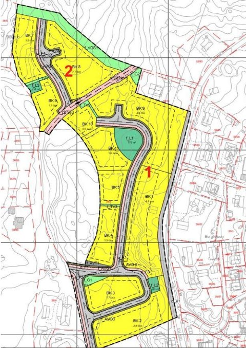 VEIENE: Kartet viser de to nye veiene som trenger navn.