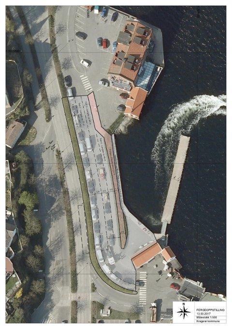 LØSNING: Slik vil bygningssjefen øke antall ventefelt fra tre til fire ved Danskekaia.