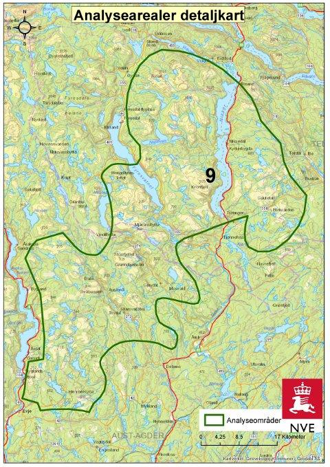 Den grønne streken avgrenser NVEs analyseområde som berører Gautefallheia.